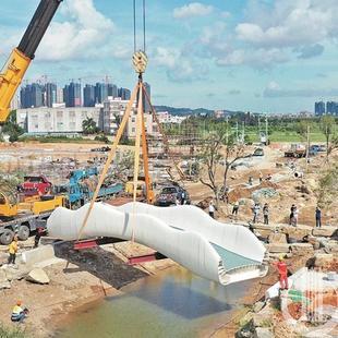 国内最大3D打印桥在泉州完成吊装